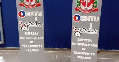 Sede da EMTU/SP em Campinas recebe totens de álcool gel sem contato manual